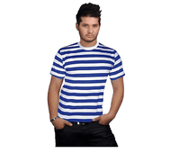 Blue and White striped Pickle Tee Shirt